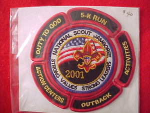 2001 pocket patch, youth participant + complete set of 5 activity segments, (outback, activities, 5-k run, duty to God, action centers