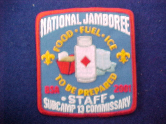 2001 patch, commissary, subcamp 13, staff
