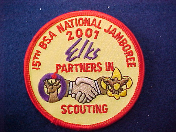 2001 patch, elks, staff, yellow twill
