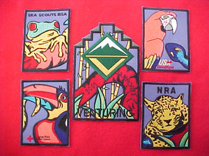 2001 patch set, venturing, 5 piece, (usa canoe/kayak, nra, venturing, sea scouts, america red cross)