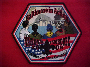 "2005 NJ jacket patch, baltimore area council contigent, 6"" hexagon"