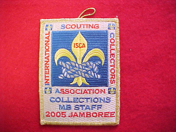 2005 NJ patch, collections merit badge staff, ISCA, gold mylar bdr.