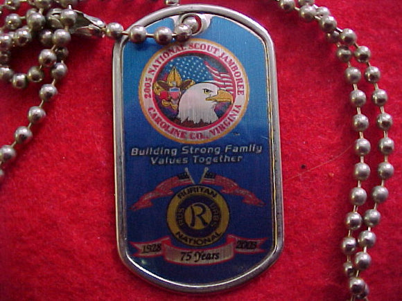 2005 NJ dog tag w/ chain, ruritan national/2005 jamboree