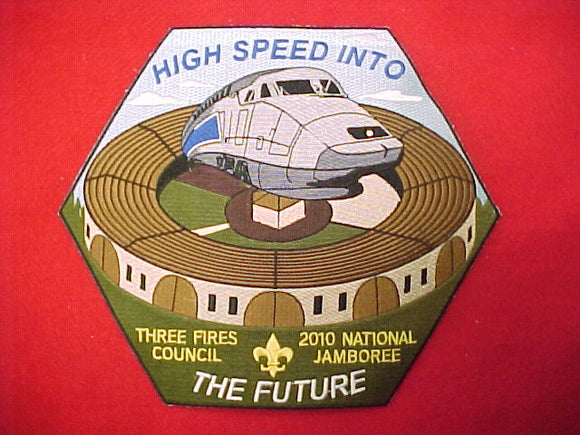 2010 nj, three fires council jacket patch, includes led light on front of train