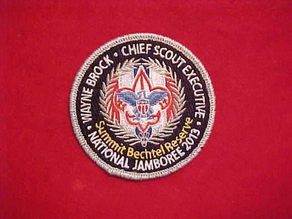 2013 NJ PATCH, CHIEF SCOUT EXECUTIVE, WAYNE BROCK, SILVER MYLAR BORDER, FULLY EMBROIDERED
