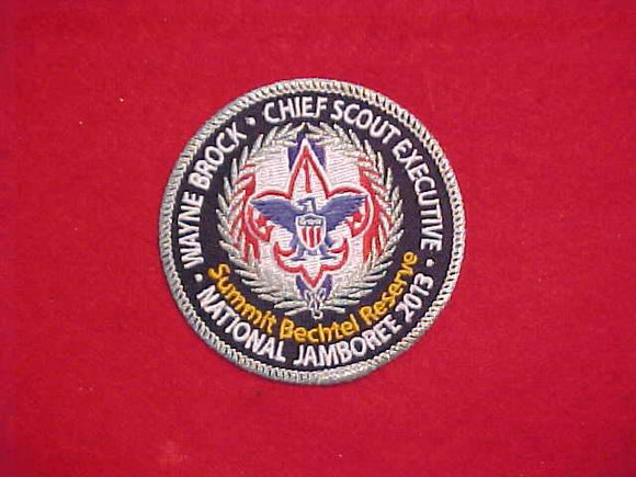 2013 NJ PATCH, CHIEF SCOUT EXECUTIVE, WAYNE BROCK, SILVER MYLAR BORDER, TWILL BACKGROUND