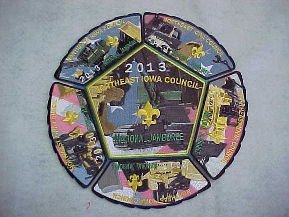 2013 NJ PATCHES, SET OF 6, NORTHEAST IOWA C., 5 SHOULDER PATCHES + JACKET PATCH