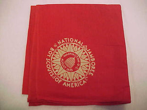 1935 NJ RED FULL SQUARE NECKERCHIEF, BOYS ISSUE, EXCELLENT CONDITION