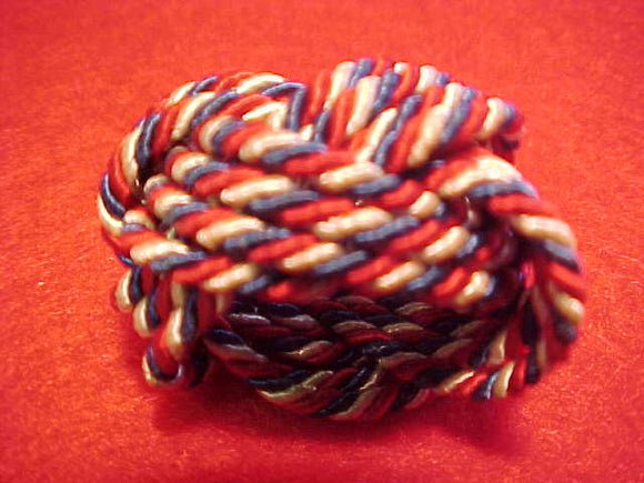 1937 NJ NECKERCHIEF SLIDE, RED/WHITE/BLUE TURKS HEAD STYLE