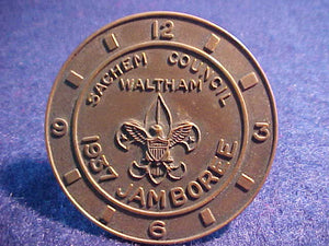 1937 NJ N/C SLIDE, SACHEM COUNCIL, WALTHAM WATCH COMPANY, BRASS
