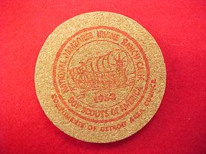 "53 NJ drink coaster, ""freebie"" to detroit area council, silkscreen on cork"
