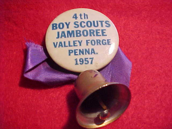 1957 NJ PIN BACK BUTTON, W/ BELL & PURPLE RIBBON