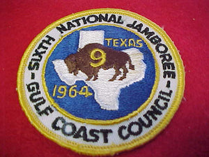 "1964 NJ GULF COAST COUNCIL CONTINGENT 3"" ROUND PATCH, MINT FRONT, GLUE MARK ON BACK"