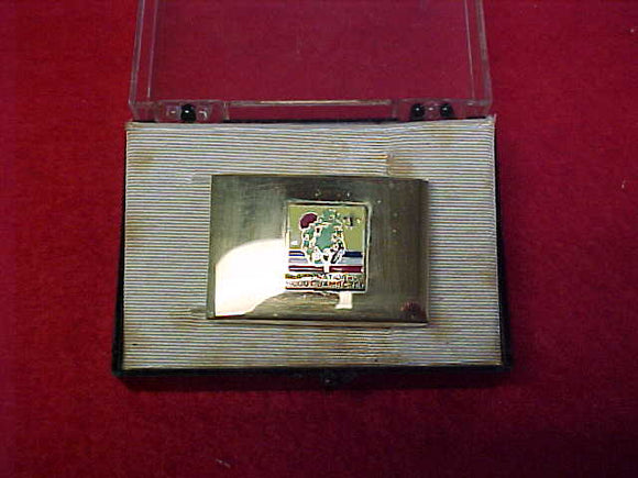 1973 NJ BELT BUCKLE, SOLID BRASS, IN ORIGINAL BOX. BUCKLE IS MINT, BOX INTERIOR IS STAINED
