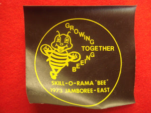 "73 NJ Skill-O-Rama ""Bee"" jamboree east staff patch, 4x4"" silkscreen on naugahyde"