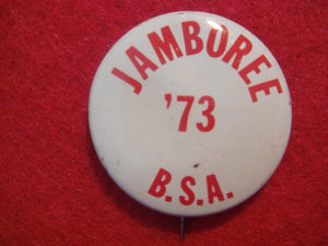 "73 NJ pin back button, ""Jamboree '73 BSA,"" 25 mm diameter"