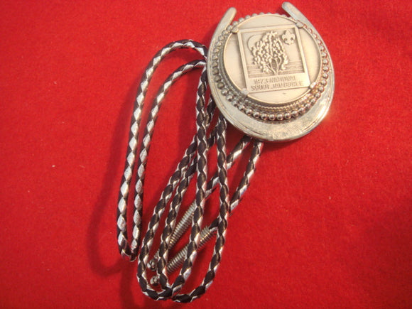 73 NJ bolo, token style, black and silver leather string