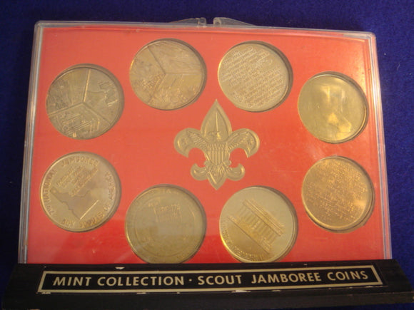 73 NJ token set of NJ tokens 1937-73, 8 brass tokens in original frame with wood stand