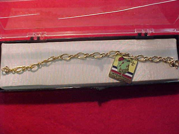 1973 NJ BRACELET W/ 23X26MM GOLD COLOR CHARM, CLOISONNE