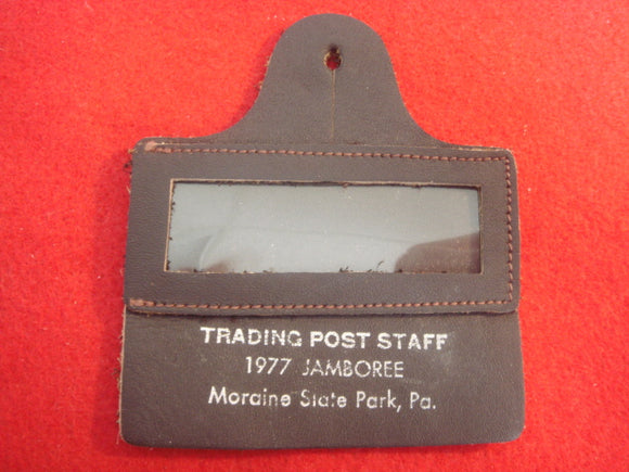 77 NJ trading post staff letaher name badge, mint