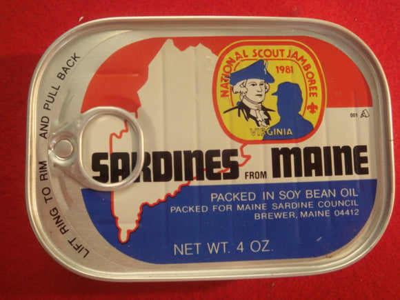 81 NJ sardines from Maine tin, empty, sealed tin, mint condition, Brewer, ME