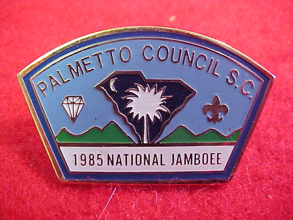 1985 NJ PIN, PALMETTO COUNCIL CONTIGENT, MISSPELLED JAMBOEE