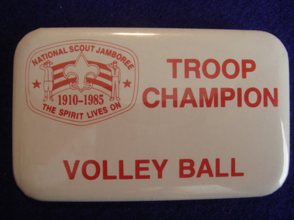 85 NJ troop champion, volleyball pin back button