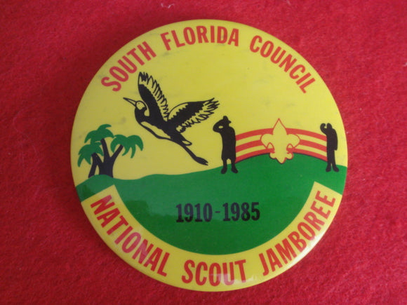 85 NJ South Florida Council contingent pin back button, 3 round