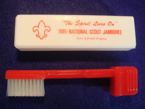 85 NJ toothbrush, army dental corps, US army health services, red handle