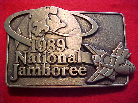 1989 NJ BELT BUCKLE, ANTIQUE BRASS