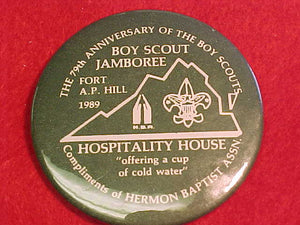 "1989 NJ PIN BACK BUTTON, HERMON BAPTIST ASSN., 2.25"" DIAMETER"