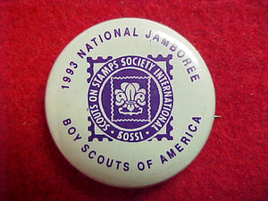 93 NJ pin back button, scouts on stamps society international