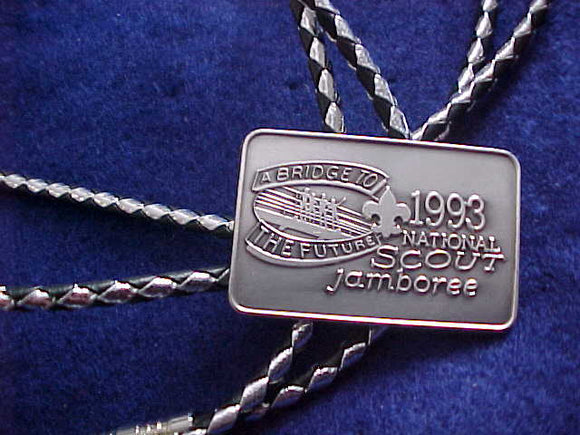 1993 NJ BOLO, PEWTER COLOR, BLACK/SILVER LEATHER CORD