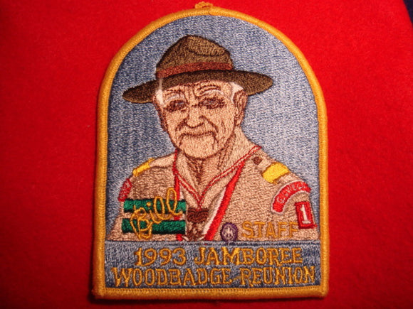 93 NJ woodbadge reunion staff patch, yellow border, Green Bar Bill