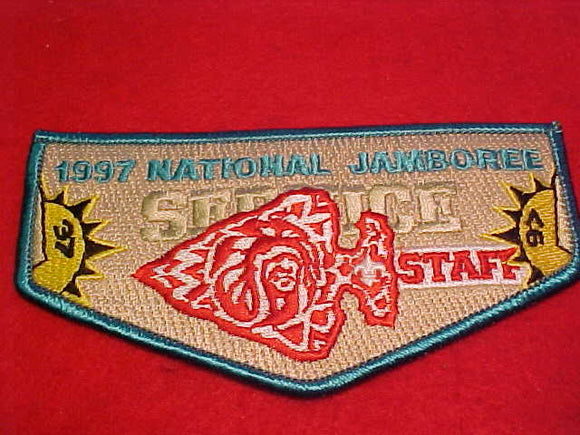 1997 NJ ORDER OF THE ARROW STAFF POCKET FLAP, TURQUOISE BORDER
