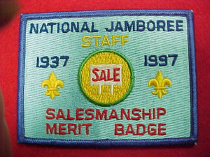 1997 patch, staff, salesmanship merit badge
