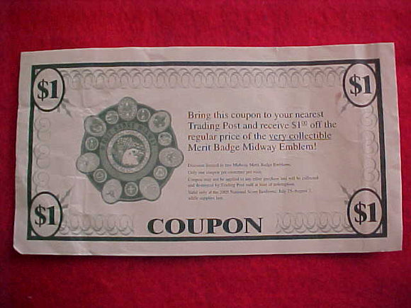 2005 NJ COUPON, $1 OFF THE MERIT BADGE MIDWAY EMBLEM
