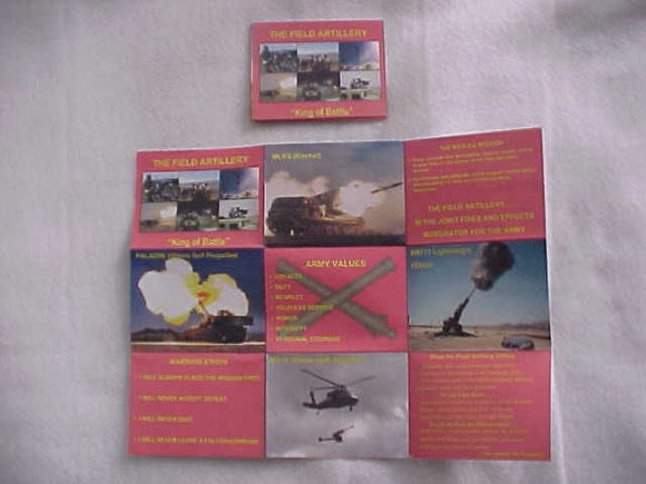 2005 NJ BROCHURE, U. S. ARMY FIELD ARTILLERY, FOLDS OUT