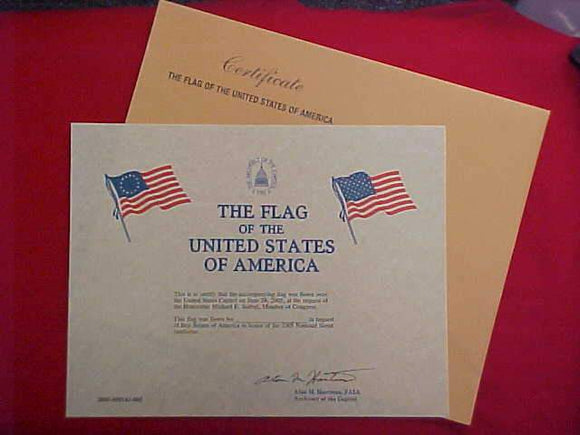 2005 NJ CERTIFICATE, U. S. FLAG FLOWN OVER U. S. CAPITOL JUNE 29, 2005, BLANK