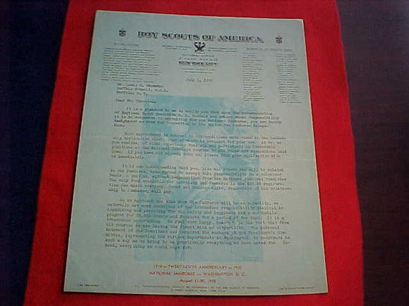 1935 NJ STAFF ACCEPTANCE LETTER, REGION 2, JAMES WEST AUTOGRAPH, 7/1/1935