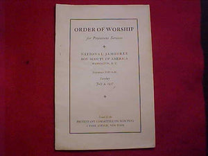 "1937 NJ BULLETIN, ""ORDER OF WORSHIP FOR PROTESTANT SERVICES"""