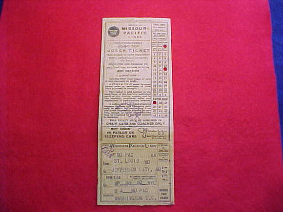 1937 NJ TRAIN TICKET, MISSOURI PACIFIC LINES