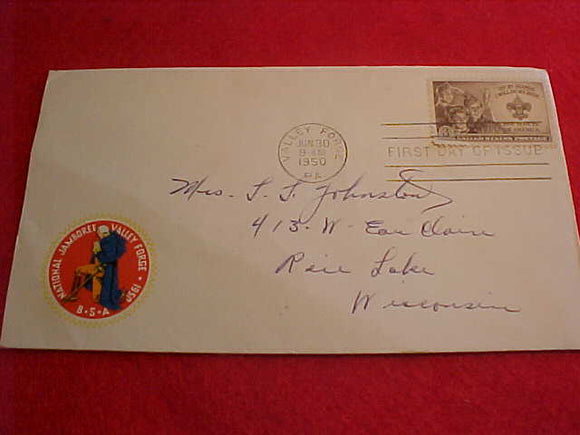 1950 NJ ENVELOPE, FIRST DAY COVER #4, W/3 CENT STAMP