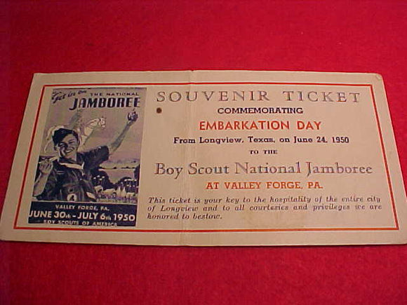 1950 NJ TICKET, EMBARKATION DAY, LONGVIEW, TX, JUNE 24, 1950