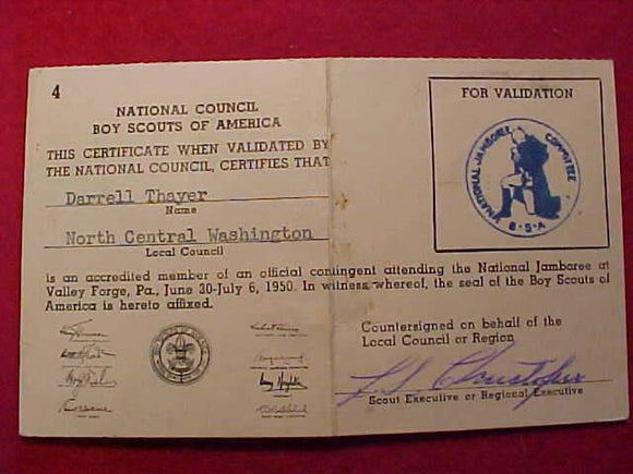 1950 POCKET CARD, PARTICIPANT, NORTH CENTRAL WASHINGTON COUNCIL