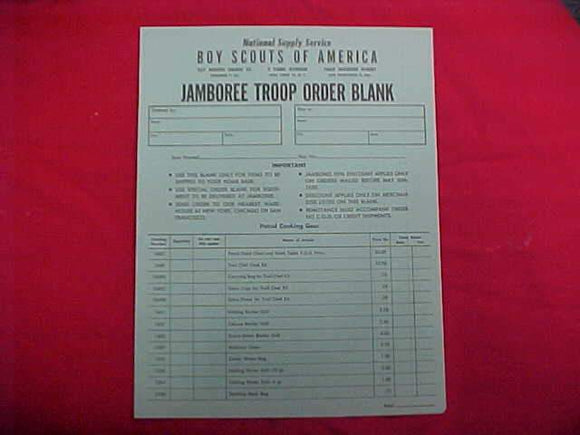1950 NJ ORDER BLANK FOR JAMBOREE TROOP