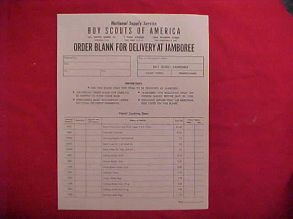 1950 NJ ORDER BLANK FOR DELIVERY AT THE JAMBOREE