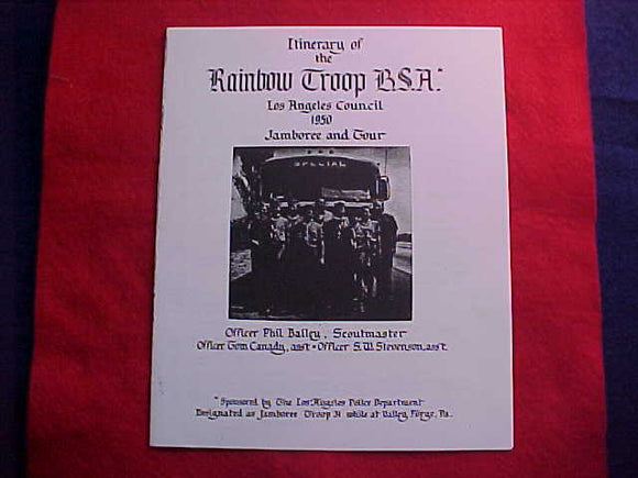 1950 NJ INTINERARY, RAINBOW TROOP, BSA, LOS ANGELES COUNCIL, (PHOTOCOPY)