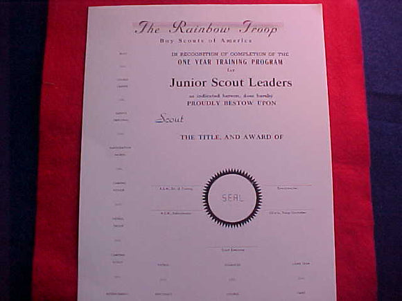 1950 NJ BLANK CERTIFICATE, ONE YEAR TRAINING PROGRAM FOR JR. SCOUT LEADERS, RAINBOW TROOP, LOS ANGELES COUNCIL