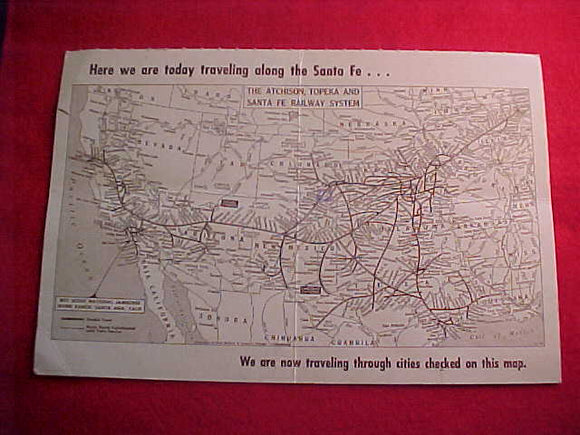 1953 NJ POSTCARD, ATCHINSON, TOPEKA AND SANTE FE RAILWAY SYSTEM
